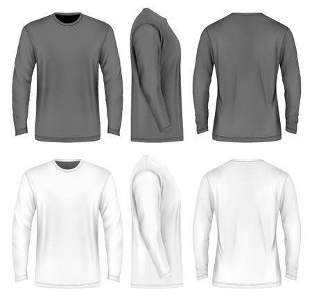 Mężczyźni z długim rękawem T-shirt. Przednie, boczne i tylne widoki. ilustracji wektorowych. Pełni edytowalne ręcznie siatki. Czarne i białe odmiany.