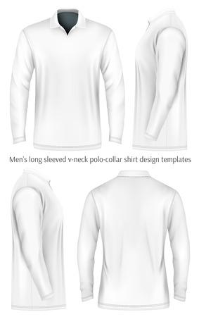man rear view: Men long sleeve polo shirt. Front, side and back views. Vector illustration. Fully editable handmade mesh. Black and white variants. Illustration
