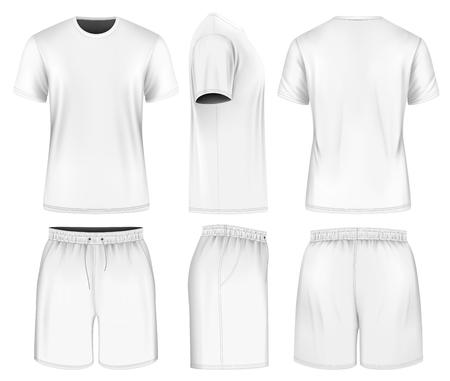 white uniform: Men short sleeve t-shirt and sport shorts. Vector illustration. Fully editable handmade mesh.