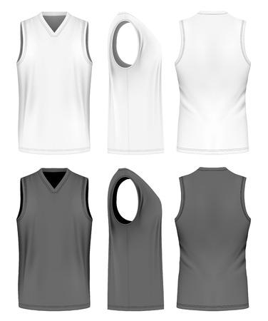 男性トレーニング ノースリーブ t シャツ。ベクトルの図。手作りの完全に編集可能なメッシュ。  イラスト・ベクター素材