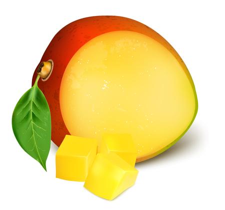 mango leaf: Ripe fresh mango with slices. Vector illustration Illustration
