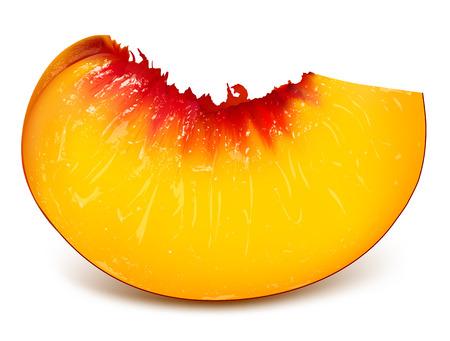 Slice of ripe peach. Fully editable handmade mesh. Vector illustration.