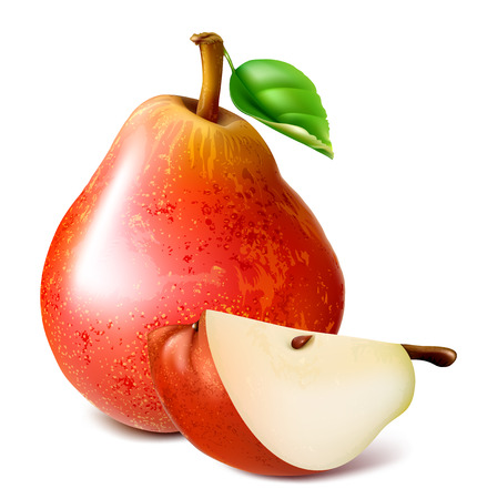 ripe: Ripe red pears with leaf. vector illustration.