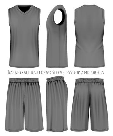Uniforme de baloncesto, camiseta sin mangas y pantalones cortos. Frontal, posterior y lateral. Ilustración del vector. Totalmente hecho a mano con malla editable.