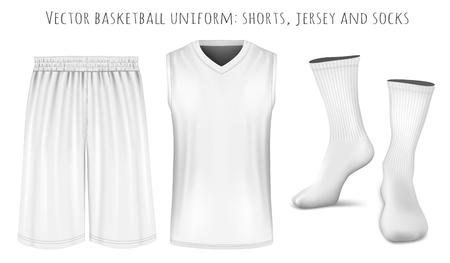 uniformes: Uniforme de baloncesto. Totalmente hecho a mano con malla editable. ilustración vectorial