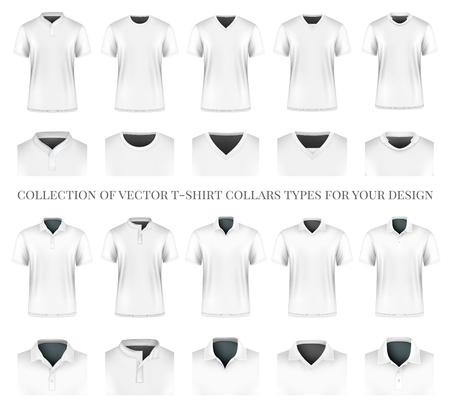 디자인을위한 벡터 t 셔츠 칼라 타입의 컬렉션입니다. 완전히 편집 가능한 수제 메쉬.