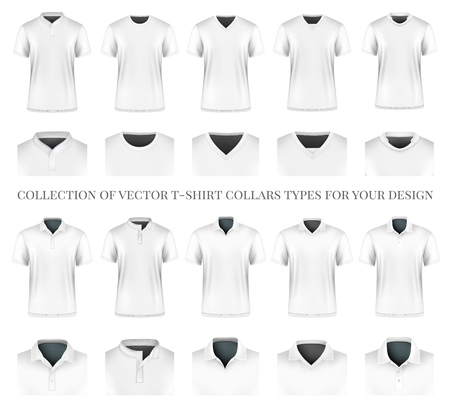 Collection of vector t-shirt collars types for your design. Fully editable handmade mesh.