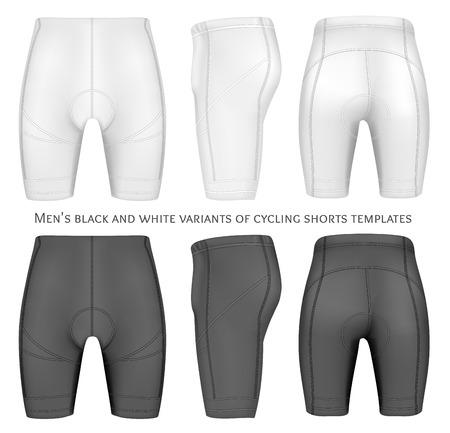 pantalones cortos: pantalones cortos de ciclista para los hombres. Totalmente hecho a mano con malla editable. Ilustración del vector. Vectores