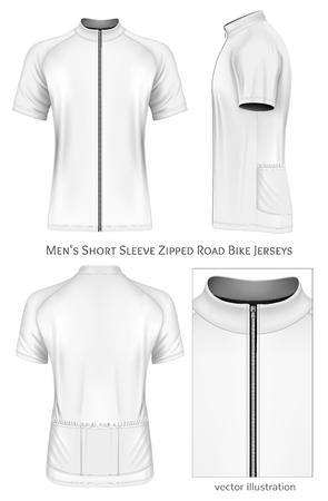 남성용 반소매 사이클링 유니폼. 완전히 편집 가능한 손수 메쉬입니다. 벡터 일러스트 레이 션.