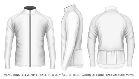 jersey: Long sleeve cycling jersey for men. Fully editable handmade mesh. Vector illustration. Illustration