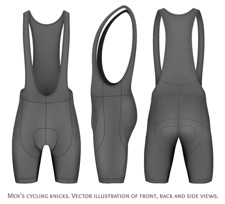 side views: Men cycling knicks. Front, back and side views. Fully editable handmade mesh. Vector illustration. Illustration