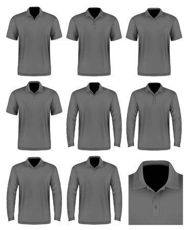 Collection of men polo shirt. Polo-collars variants. Vector illustration. Fully editable handmade mesh.
