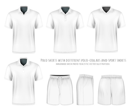 Men short sleeve polo shirt with different polo-collars and sport shorts. Vector illustration. Fully editable handmade mesh. Stock Illustratie