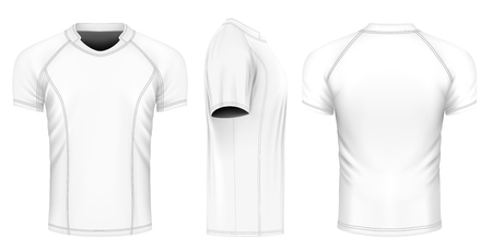 Rugby jersey, front, back and side views. Fully editable handmade mesh. Vector illustration.  イラスト・ベクター素材