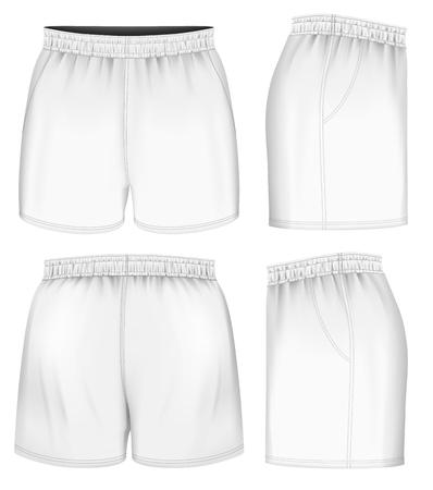 pantaloncini rugby, anteriore, posteriore e vista laterale. Completamente a mano modificabili in rete. Illustrazione vettoriale.