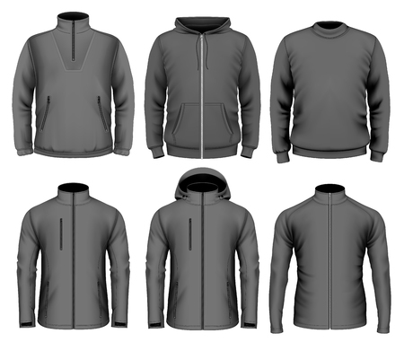zip hoodie: Collection of men clothes. Fully editable handmade mesh. Vector illustration. Illustration