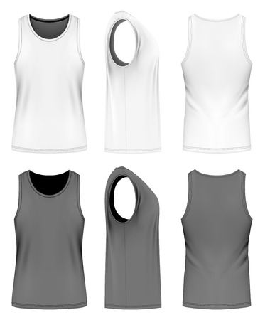 white singlet: Full back singlet, front, back and side views. Fully editable handmade mesh. Vector illustration.