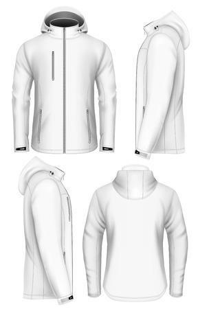 フード デザイン テンプレートと男性ソフトシェル ジャケット。手作りの完全に編集可能なメッシュ。ベクトルの図。