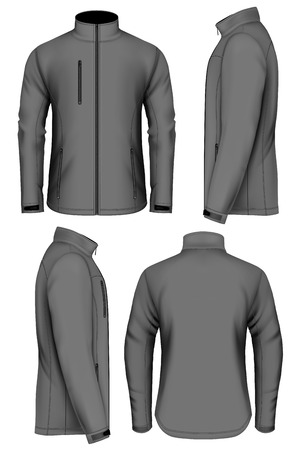back view man: Men softshell jacket design template. Fully editable handmade mesh. Vector illustration.