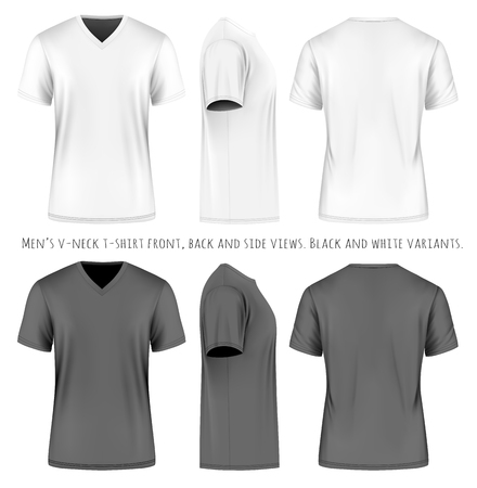 Men short sleeve v-neck t-shirt. Front, side and back views. Vector illustration. Fully editable handmade mesh. Black and white variants.