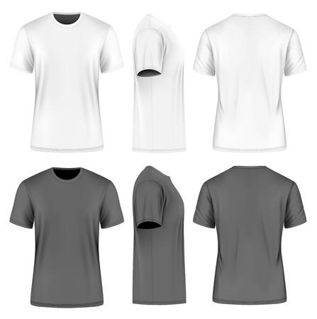 Mannen korte mouw ronde hals t-shirt. Voor-, zij- en achterzijde uitzicht. Vector illustratie. Volledig bewerkbare handgemaakte mesh. Zwarte en witte varianten.