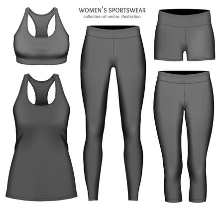 Kobiety odzieży sportowej. Zbiór ilustracji wektorowych. Pełni edytowalne ręcznie siatki.