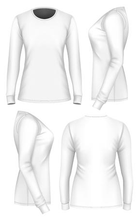 fully editable: Women t-shirt long sleeve. Fully editable handmade mesh. Vector illustration. Illustration