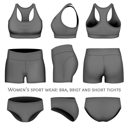 briefs: Women sportswear, sport bra, short tights and briefs. Fully editable handmade mesh. Vector illustration.