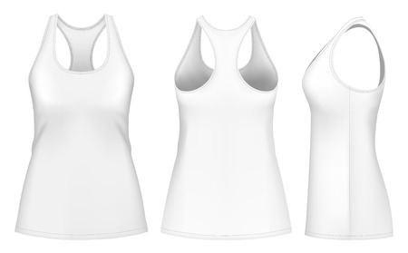 fully editable: Women singlet racer back. Fully editable handmade mesh. Vector illustration.