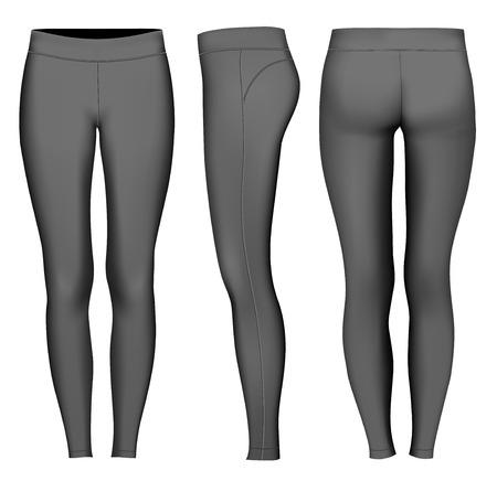 Women full length compression tights. Fully editable handmade mesh. Vector illustration.