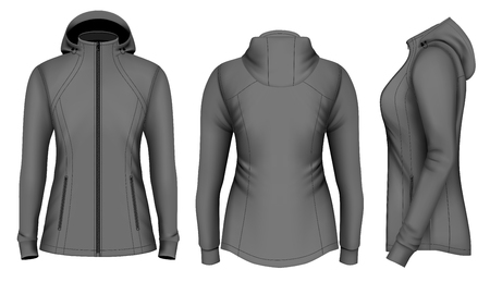 hooded: Softshell hooded jacket for lady. Fully editable handmade mesh. Vector illustration.