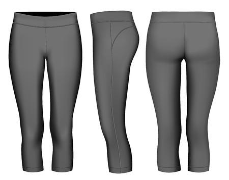 running pants: Women 3-4 long black tights. Fully editable handmade mesh. Vector illustration. Illustration