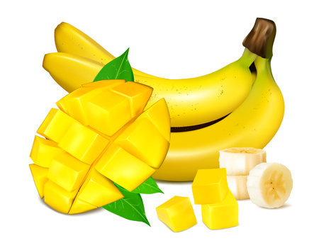 fully: Ripe yellow bananas with mango and slices of fruits. Vector illustrations. Fully editable handmade mesh.