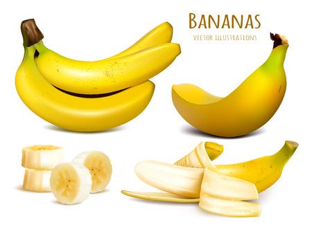 Ripe yellow bananas. Collection of vector illustrations. Fully editable handmade mesh.
