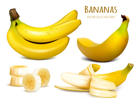 fully editable: Ripe yellow bananas. Collection of vector illustrations. Fully editable handmade mesh.