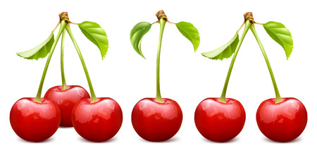 ripe: Ripe red cherry with leaves. Three, one and tow cherries. Fully editable handmade mesh. Vector illustration.
