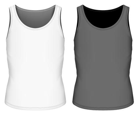 Full back singlet for boys. Children sleeveless shirt. Fully editable handmade mesh. Vector illustration.
