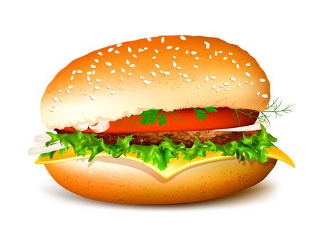 Hamburger. Fully editable handmade mesh. Vector illustration. Illustration