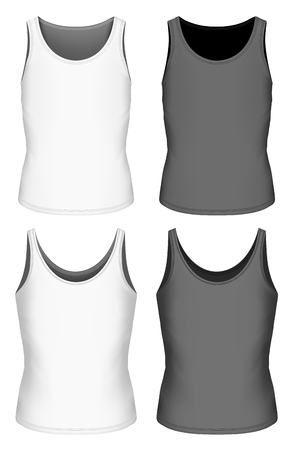 white singlet: Singlet for boys and girls. Children sleeveless shirt. Black and white variants of singlet. Fully editable handmade mesh. Vector illustration.