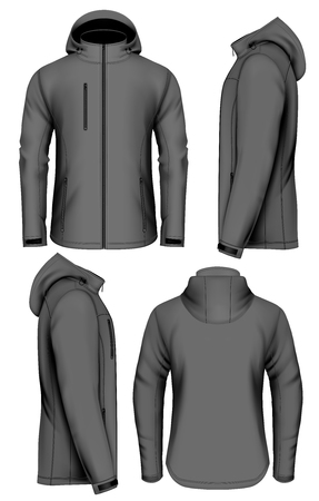 Men softshell jacket with hood design template. 矢量图像