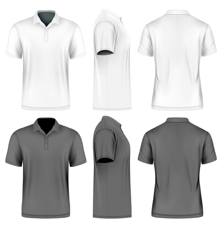front view: Mens slim-fitting short sleeve polo shirt.