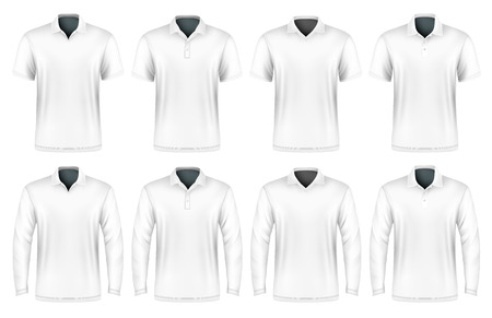 white shirt: Collection of polo shirts with different polo-collars.