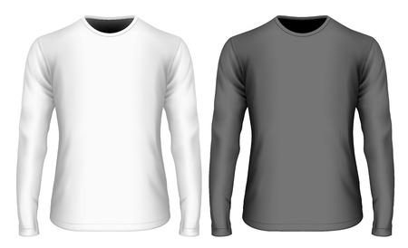 long: Mens long sleeve black and white t-shirt (front view). Vector illustration. Fully editable handmade mesh. Illustration