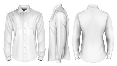 front view: Mens long sleeved shirt. Front, side and back views. Fully editable handmade mesh, Vector illustration. Illustration