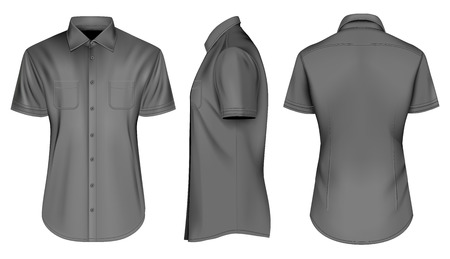 short sleeve: Mens short sleeved formal button down shirts. Front, side and back views. Fully editable handmade mesh, Vector illustration. Illustration