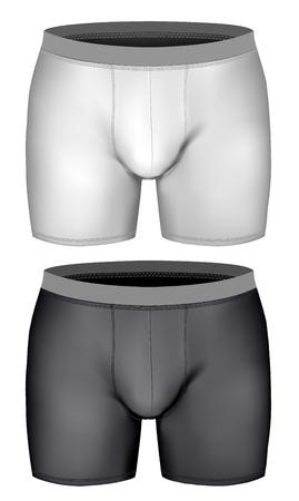waistband: Men boxer briefs. Vector illustration. Fully editable handmade mesh.