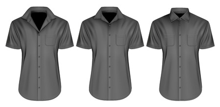 view: Mens short sleeved shirts. Vector illustration.