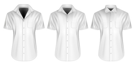 Three variants of mens short sleeved formal button down shirt. Fully editable handmade mesh, Vector illustration. Illustration
