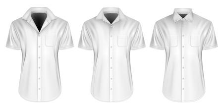 button down shirt: Three variants of mens short sleeved formal button down shirt. Fully editable handmade mesh, Vector illustration. Illustration
