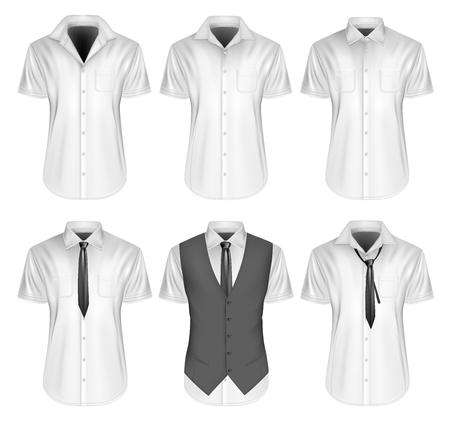 Men's short sleeved formal button down shirts. Fully editable handmade mesh, Vector illustration.